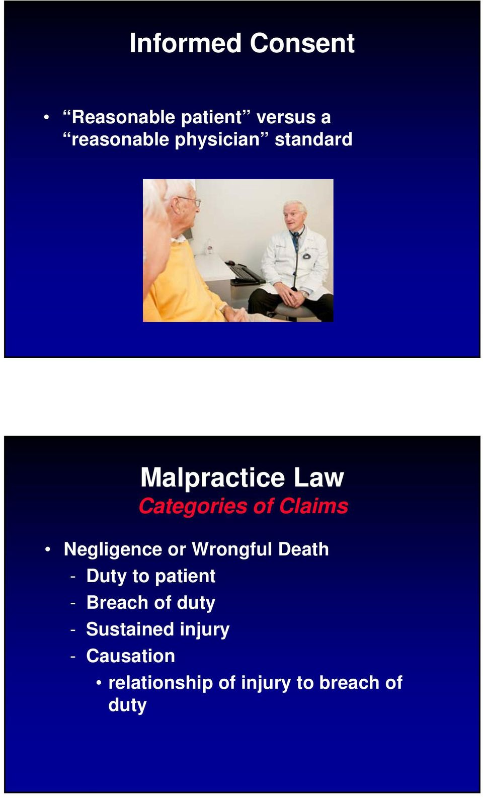 Negligence or Wrongful Death - Duty to patient - Breach of