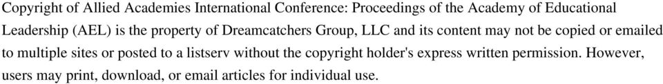 not be copied or emailed to multiple sites or posted to a listserv without the copyright