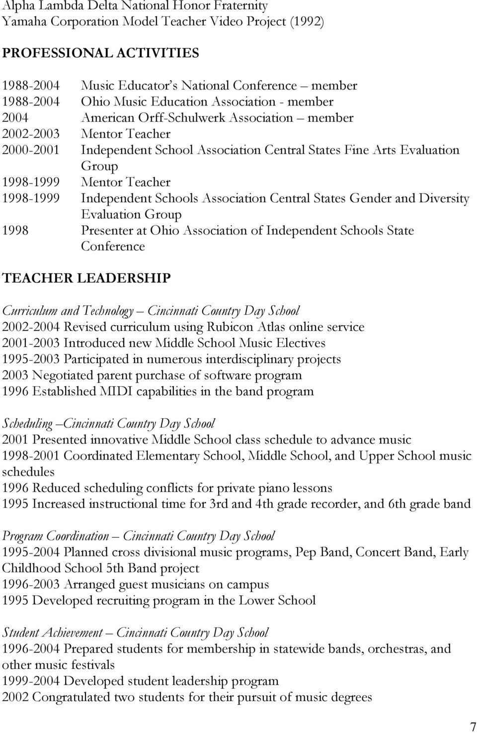 Mentor Teacher 1998-1999 Independent Schools Association Central States Gender and Diversity Evaluation Group 1998 Presenter at Ohio Association of Independent Schools State Conference TEACHER