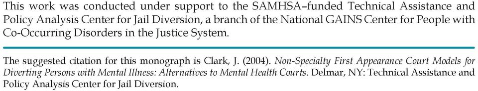 The suggested citation for this monograph is Clark, J. (2004).