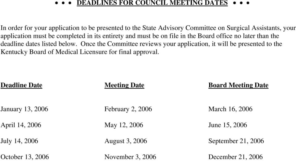 Once the Committee reviews your application, it will be presented to the Kentucky Board of Medical Licensure for final approval.