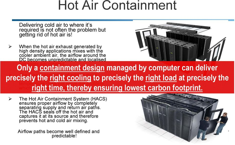 Only a containment design managed by computer can deliver The legacy approach of adding more precisely cooling capacity the right and lowering cooling the to precisely the right load at precisely the