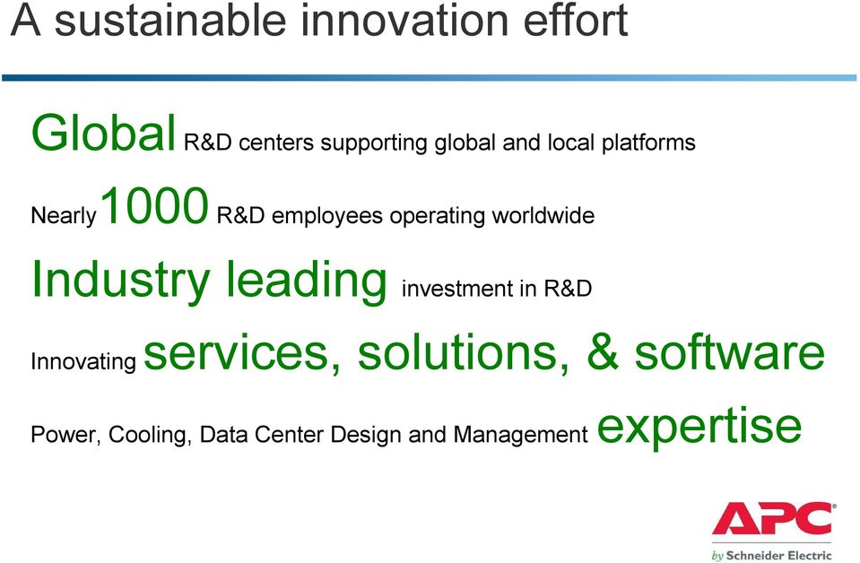 worldwide Industry leading investment in R&D Innovating services,