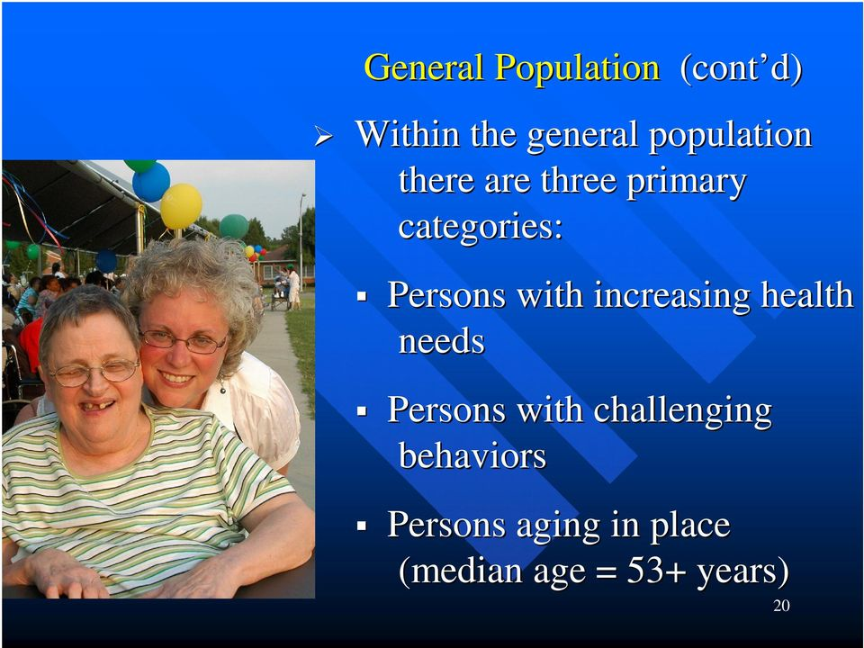 Persons with increasing health needs Persons with