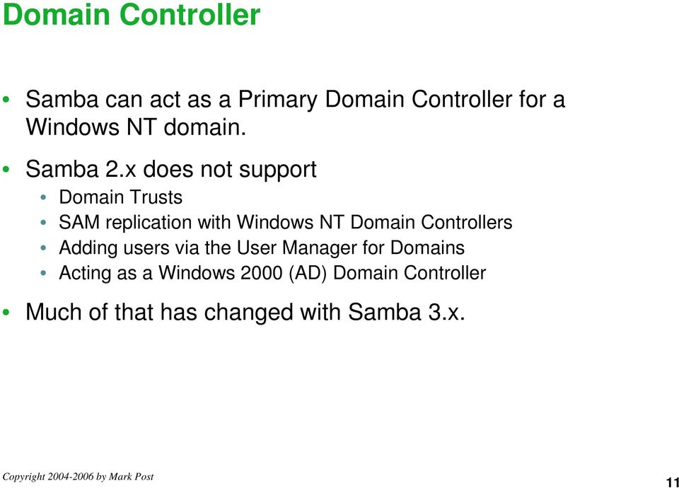 x does not support Domain Trusts SAM replication with Windows NT Domain