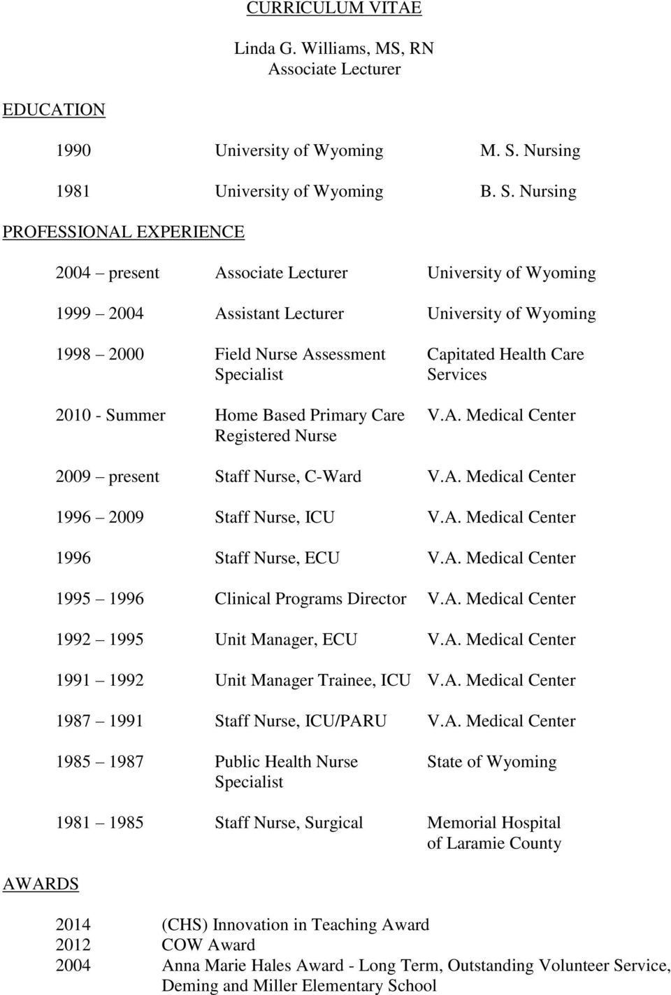 Nursing PROFESSIONAL EXPERIENCE AWARDS 2004 present Associate Lecturer University of Wyoming 1999 2004 Assistant Lecturer University of Wyoming 1998 Field Nurse Assessment Capitated Health Care