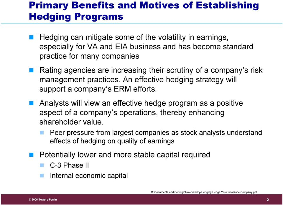 An effective hedging strategy will support a company s ERM efforts.