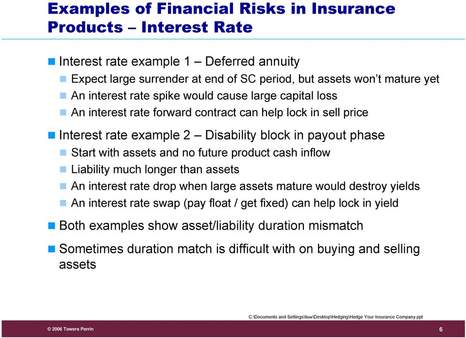 with assets and no future product cash inflow Liability much longer than assets An interest rate drop when large assets mature would destroy yields An interest rate swap (pay