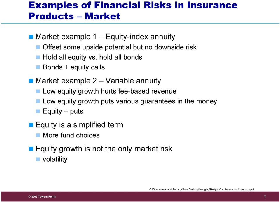 hold all bonds Bonds + equity calls Market example 2 Variable annuity Low equity growth hurts fee-based revenue Low