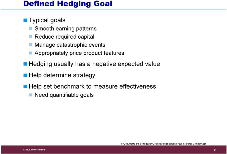 Hedging usually has a negative expected value Help determine strategy Help