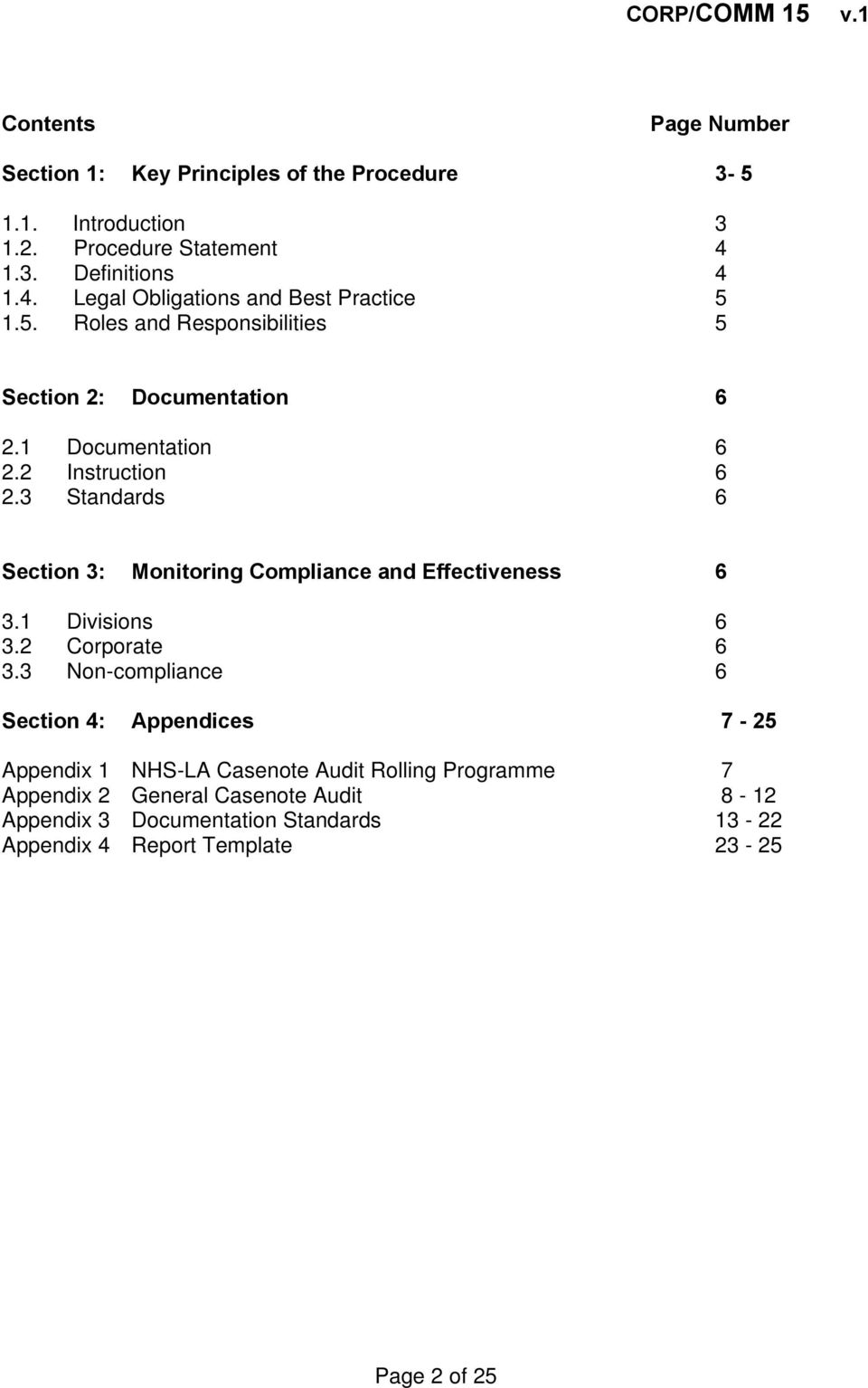 2 Instruction 6 2.3 Standards 6 Section 3: Monitoring Compliance and Effectiveness 6 3.1 Divisions 6 3.2 Corporate 6 3.