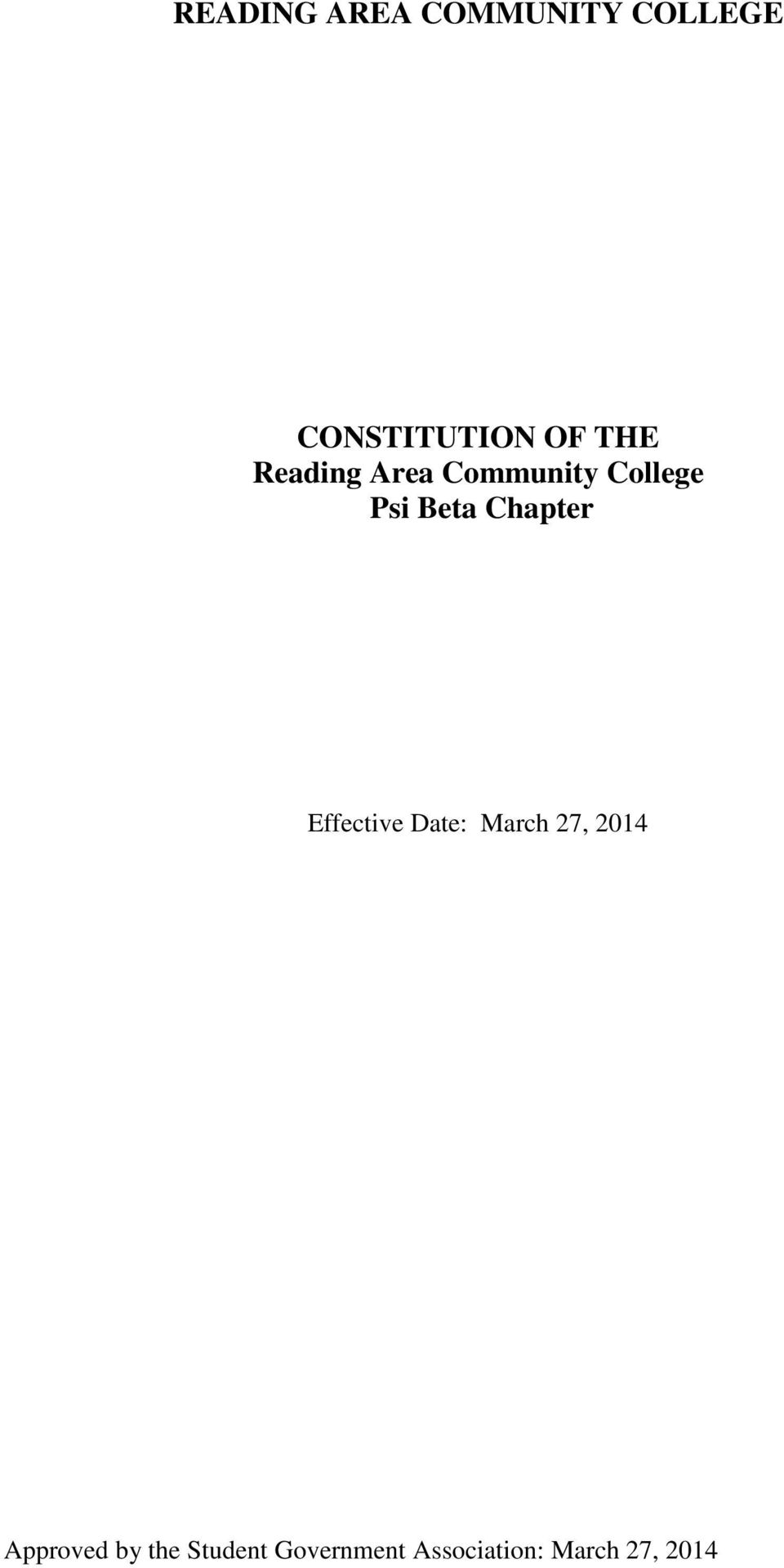 Chapter Effective Date: March 27, 2014 Approved