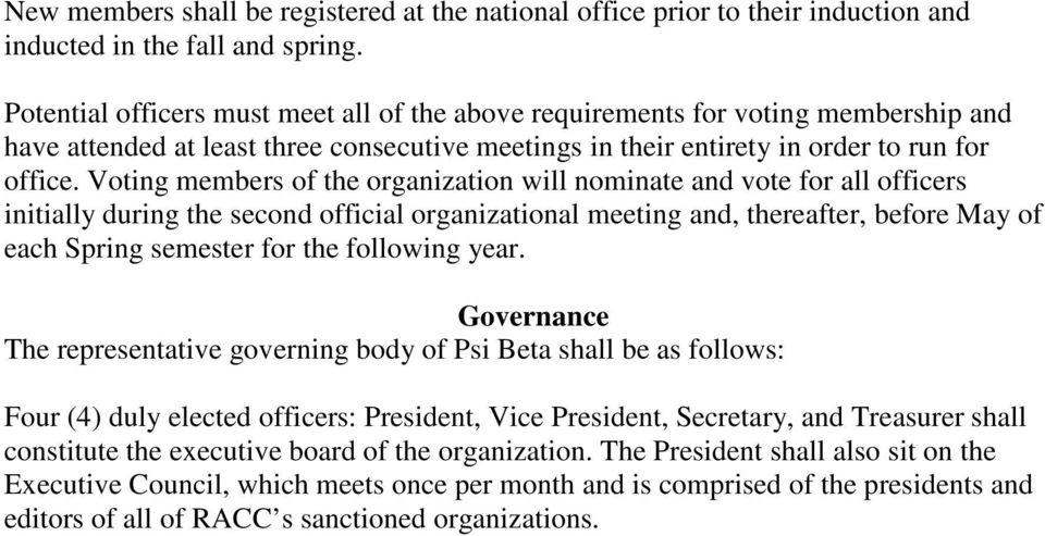 Voting members of the organization will nominate and vote for all officers initially during the second official organizational meeting and, thereafter, before May of each Spring semester for the