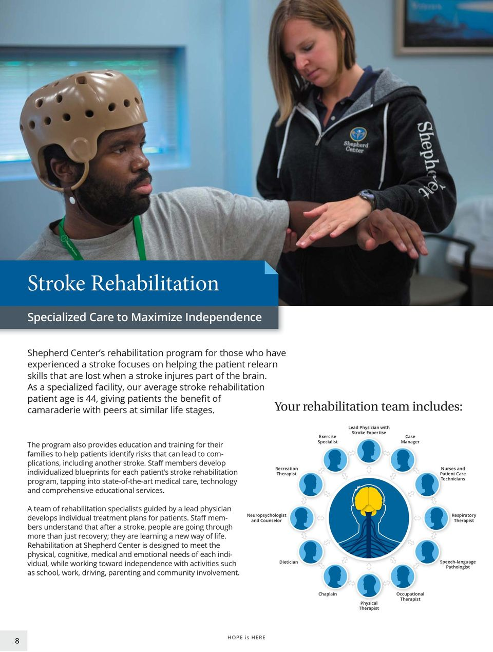 Your rehabilitation team includes: The program also provides education and training for their families to help patients identify risks that can lead to com- individualized blueprints for each patient