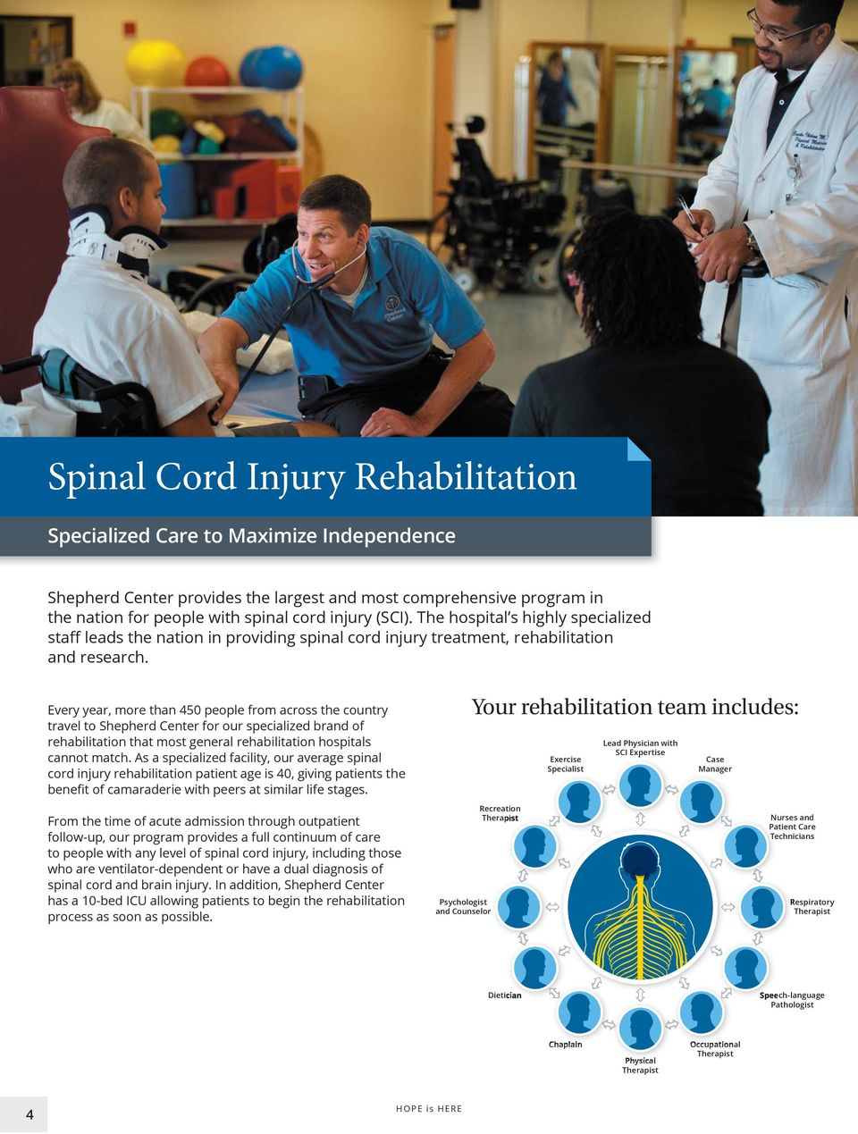 As a specialized facility, our average spinal Your rehabilitation team includes: Exercise Specialist Lead Physician with SCI Expertise Case Manager From the time of acute admission through outpatient
