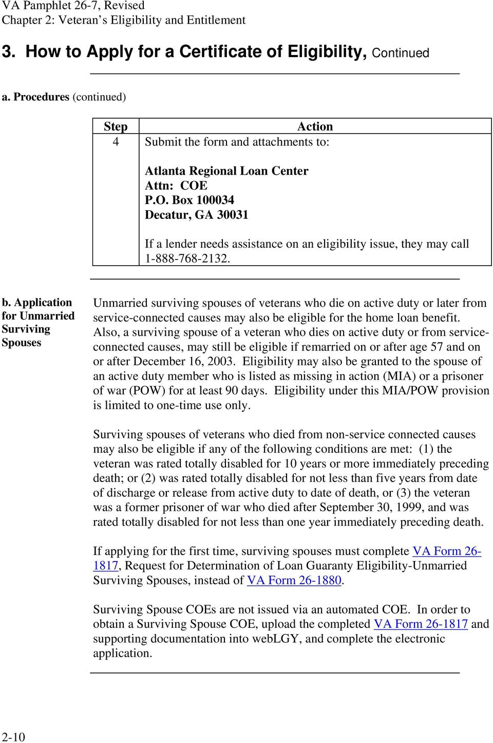 Application for Unmarried Surviving Spouses Unmarried surviving spouses of veterans who die on active duty or later from service-connected causes may also be eligible for the home loan benefit.