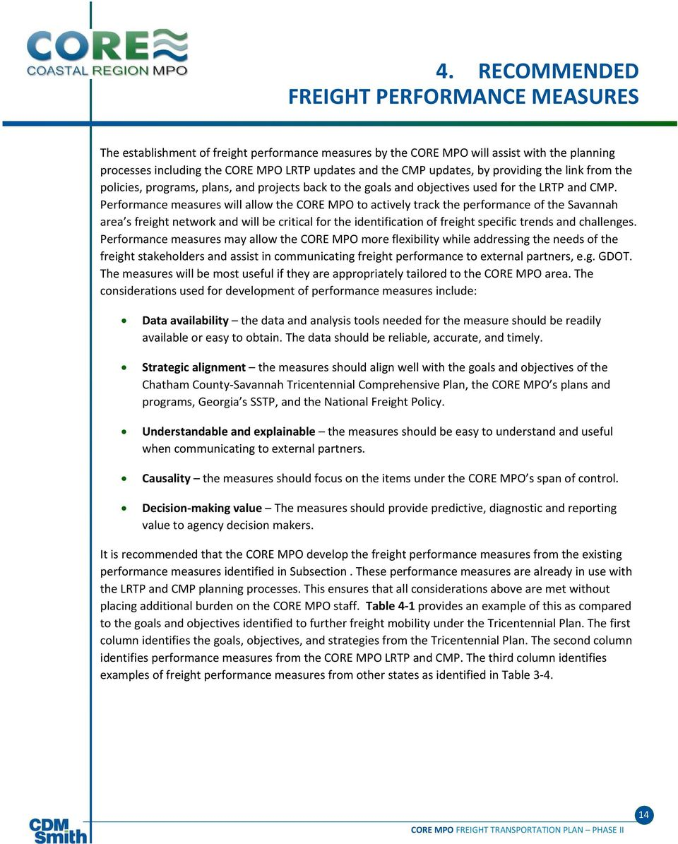 Performance measures will allow the CORE MPO to actively track the performance of the Savannah area s freight network and will be critical for the identification of freight specific trends and
