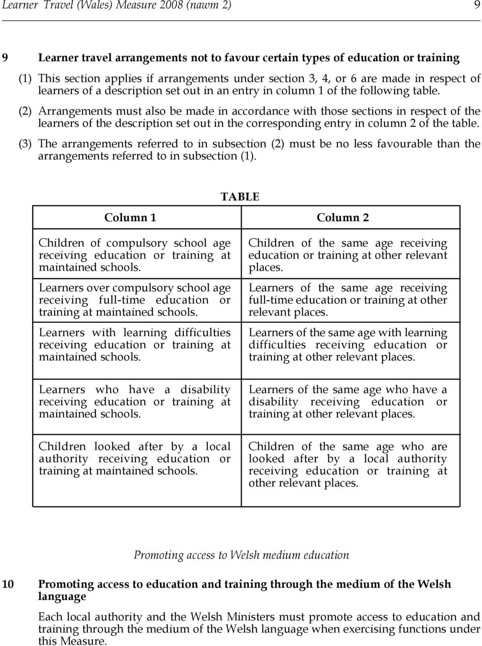 (2) Arrangements must also be made in accordance with those sections in respect of the learners of the description set out in the corresponding entry in column 2 of the table.