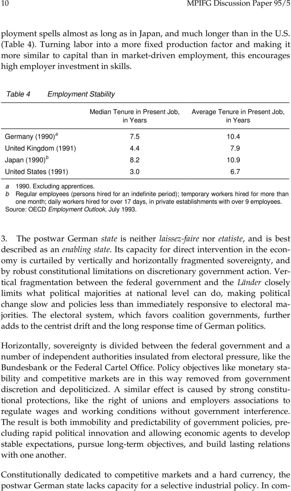 Table 4 Employment Stability Median Tenure in Present Job, in Years Average Tenure in Present Job, in Years Germany (1990) a 7.5 10.4 United Kingdom (1991) 4.4 7.9 Japan (1990) b 8.2 10.