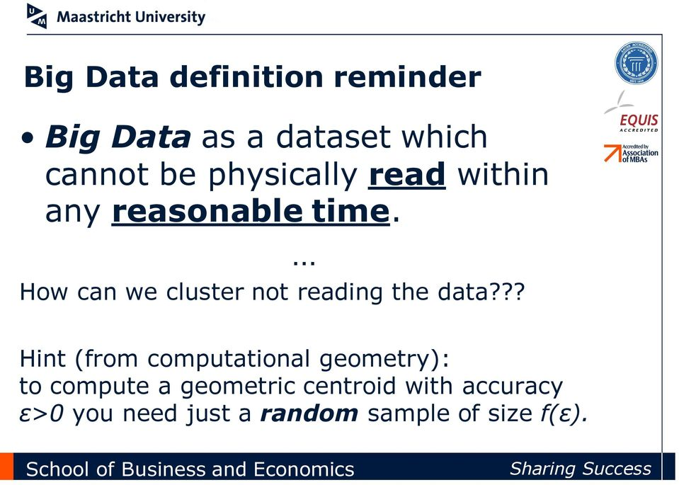 How can we cluster not reading the data?