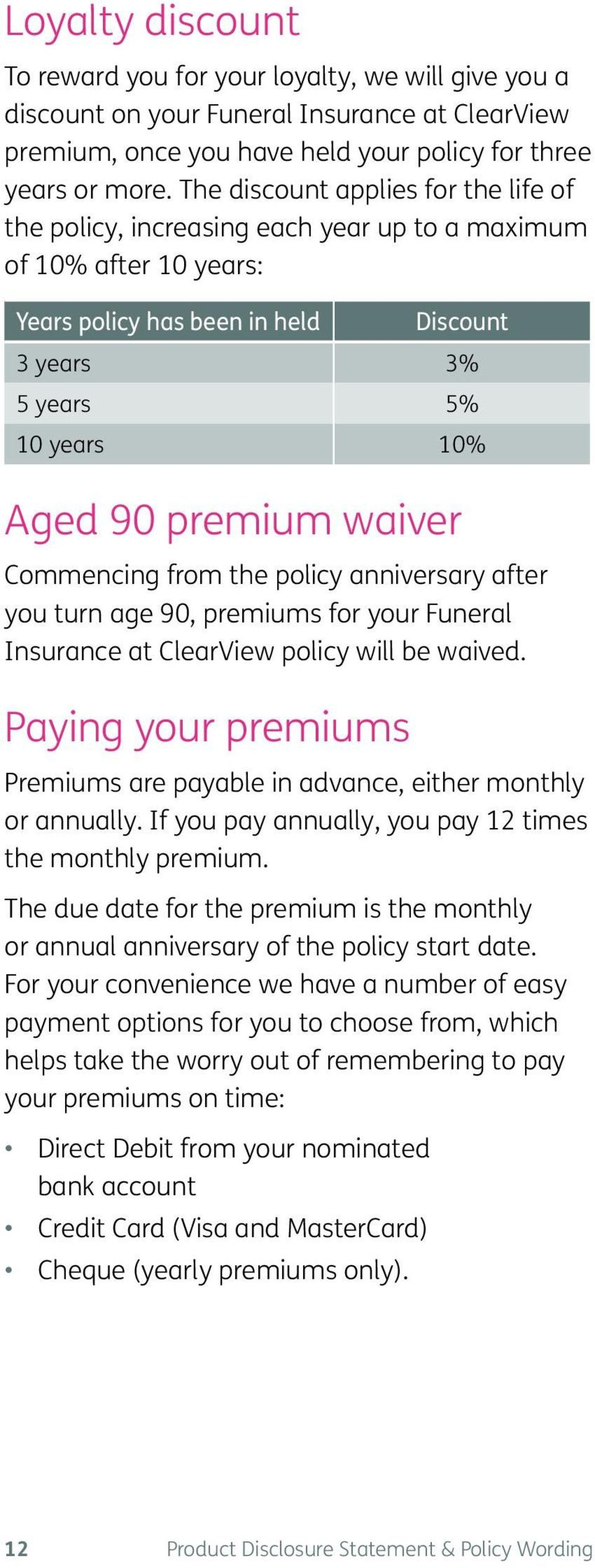 waiver Commencing from the policy anniversary after you turn age 90, premiums for your Funeral Insurance at ClearView policy will be waived.