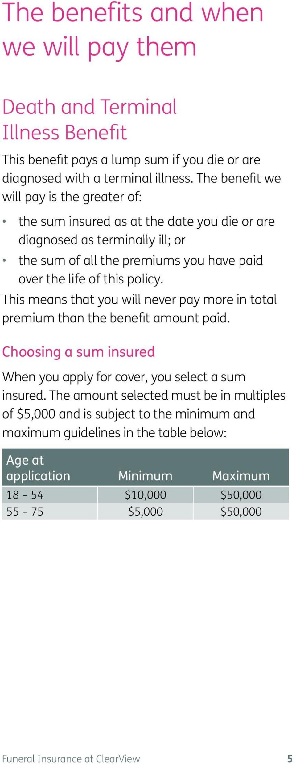 policy. This means that you will never pay more in total premium than the benefit amount paid. Choosing a sum insured When you apply for cover, you select a sum insured.