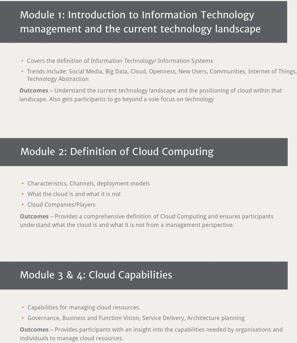 Also gets participants to go beyond a sole focus on technology Module 2: Definition of Cloud Computing Characteristics, Channels, deployment models What the cloud is and what it is not Cloud