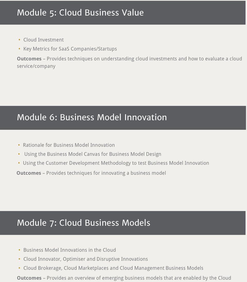 Methodology to test Business Model Innovation Outcomes Provides techniques for innovating a business model Module 7: Cloud Business Models Business Model Innovations in the Cloud Cloud
