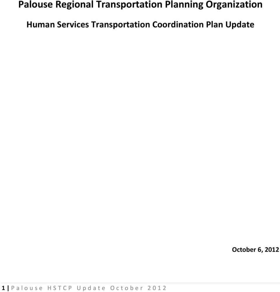 Transportation Coordination Plan Update