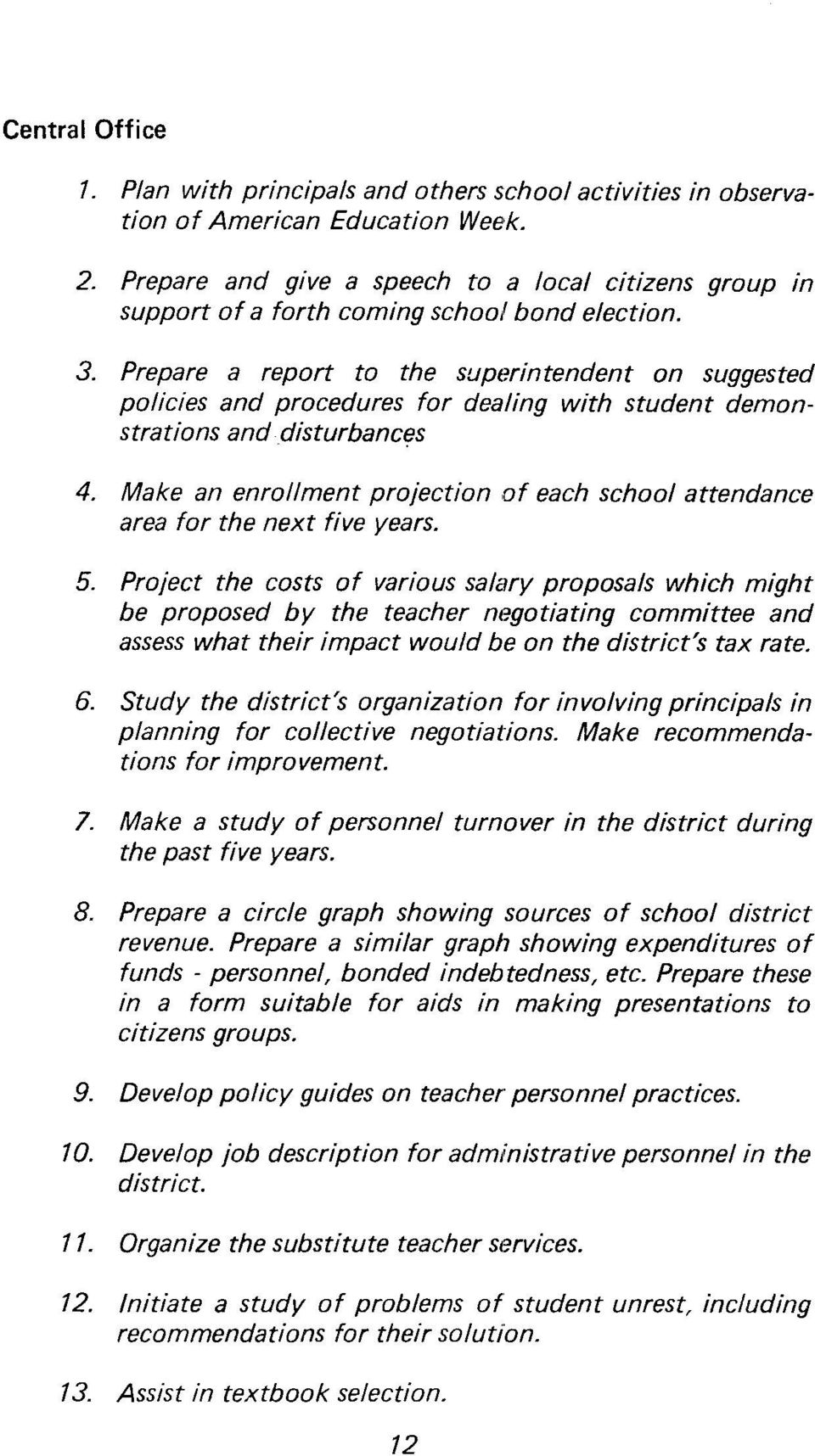 Prepare a report to the supt~rintendent on suggested policies and procedures for dealing with student demonstrations and disturbances 4.