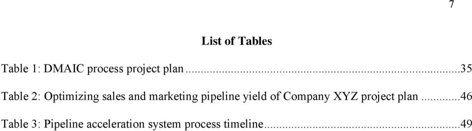 pipeline yield of Company XYZ project plan.