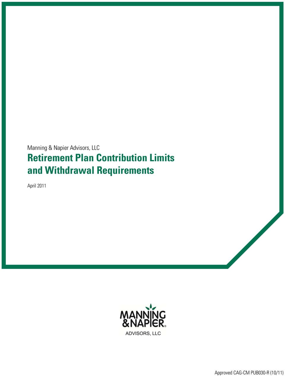 Limits and Withdrawal Requirements
