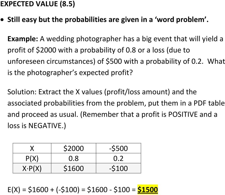 8 or a loss (due to unforeseen circumstances) of $500 with a probability of 0.2. What is the photographer s expected profit?