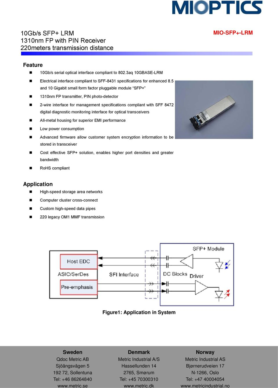 interface for optical transceivers All-metal housing for superior EMI performance Low power consumption Advanced firmware allow customer system encryption information to be stored in transceiver Cost
