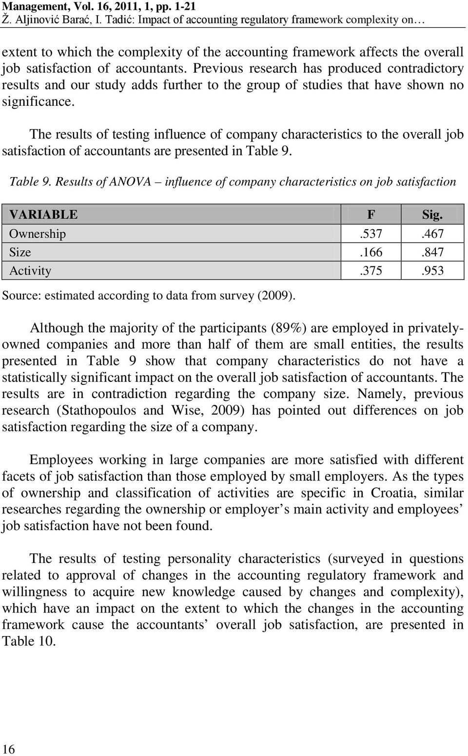 The results of testing influence of company characteristics to the overall job satisfaction of accountants are presented in Table 9.