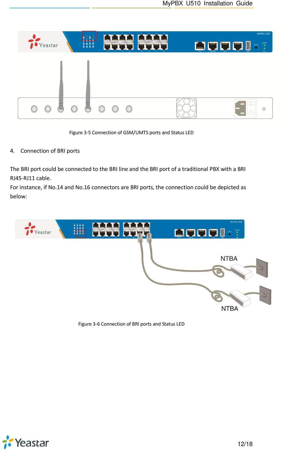 of a traditional PBX with a BRI RJ45-RJ11 cable. For instance, if No.14 and No.
