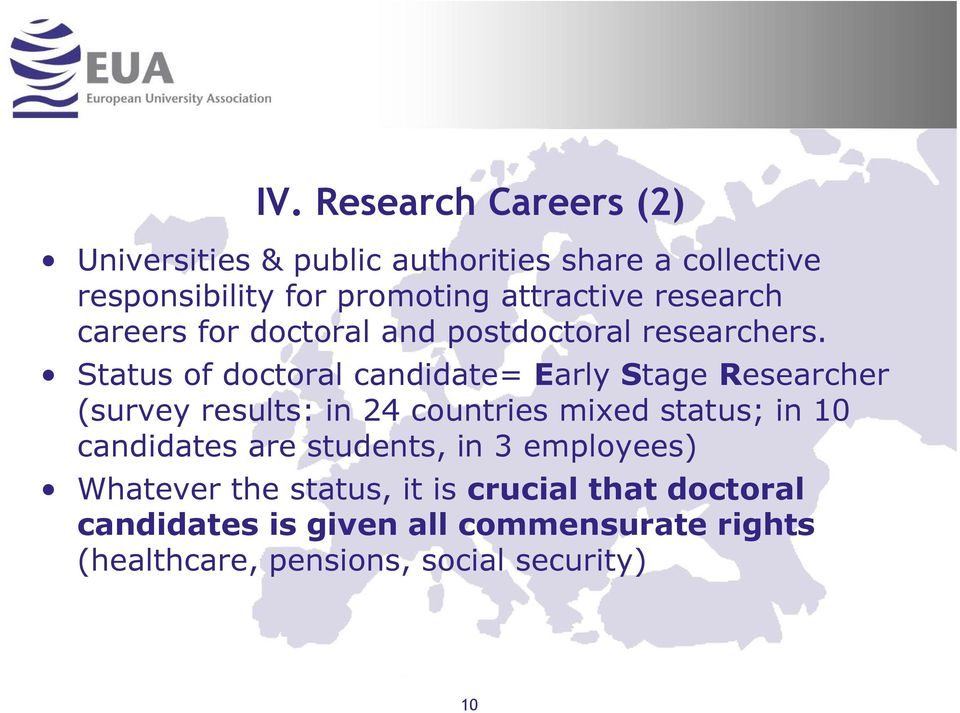 Status of doctoral candidate= Early Stage Researcher (survey results: in 24 countries mixed status; in 10