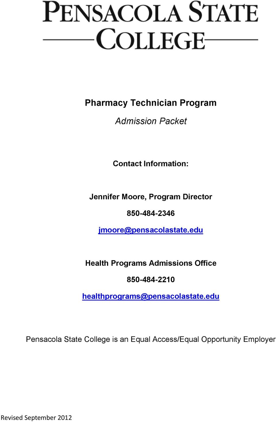 edu Health Programs Admissions Office 850-484-2210
