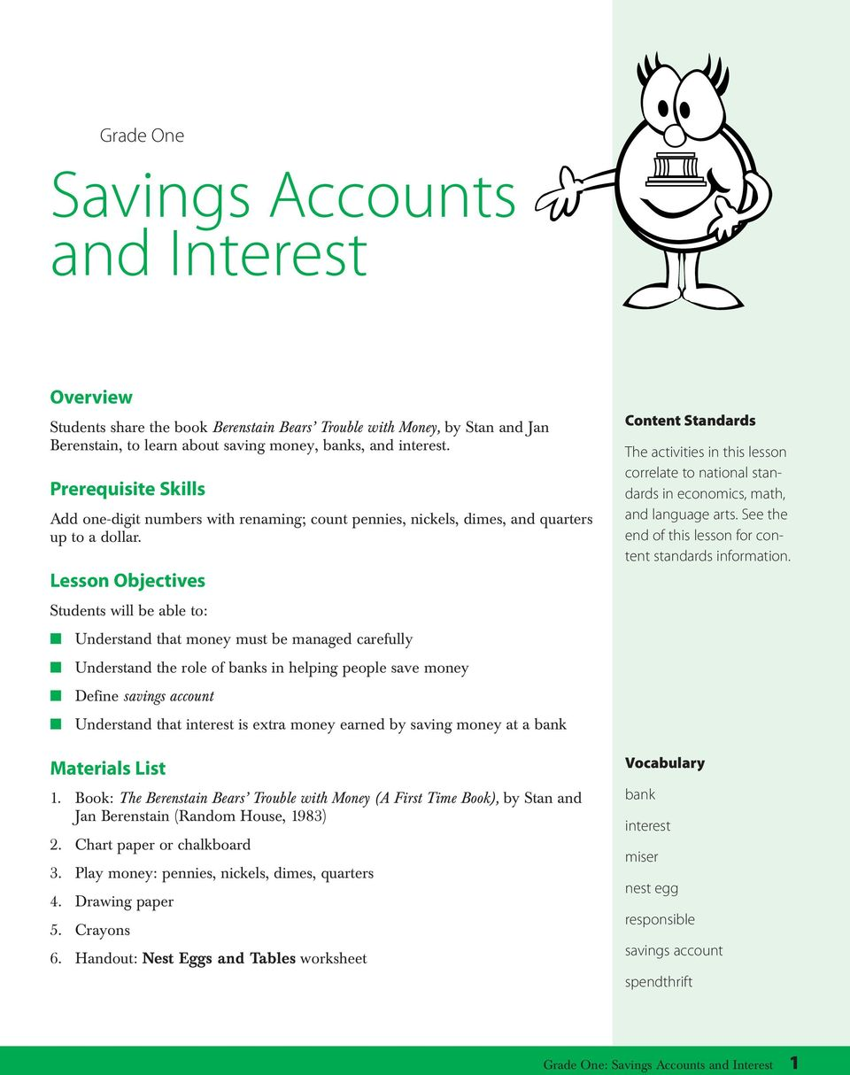 Lesson Objectives Students will be able to: Understand that money must be managed carefully Understand the role of banks in helping people save money Define savings account Understand that interest