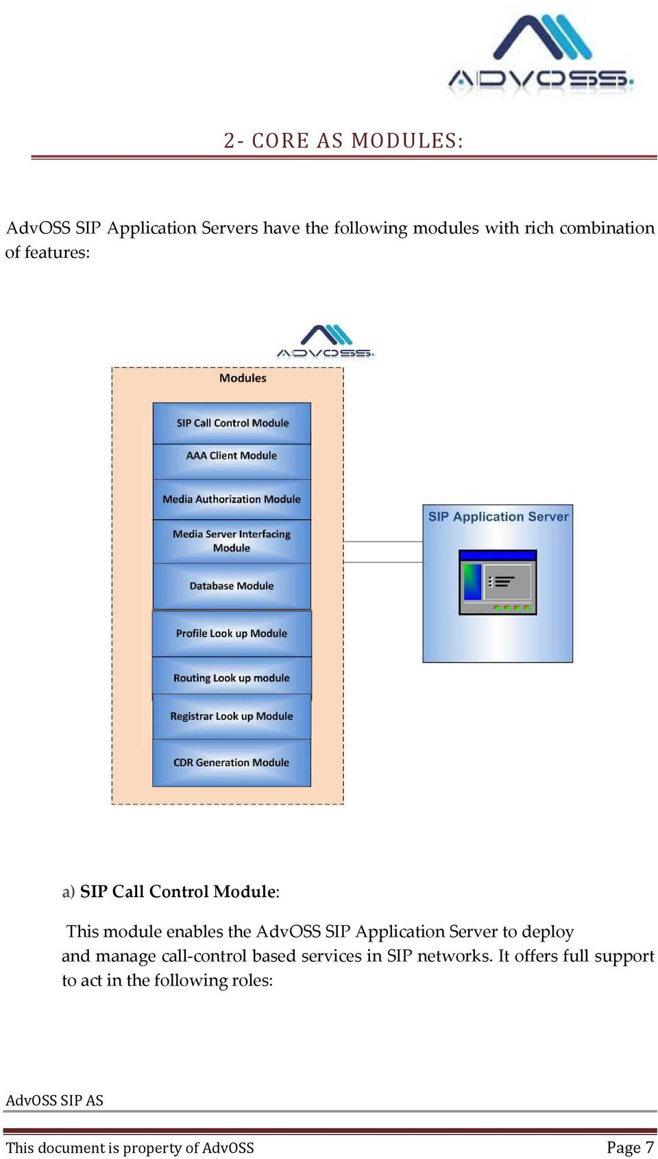 Application Server to deploy and manage call control based services in SIP networks.