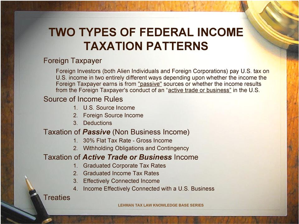 Foreign Taxpayer Foreign Investors (both Alien Individuals and Foreign Corporations) pay U.S.