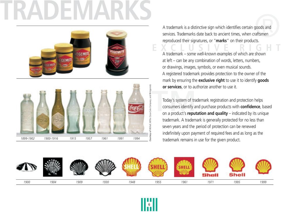 E X C L U S I V E R I G H T Courtesy of Shell, The Coca-Cola Company, and Vegemite A trademark some well-known examples of which are shown at left can be any combination of words, letters, numbers,
