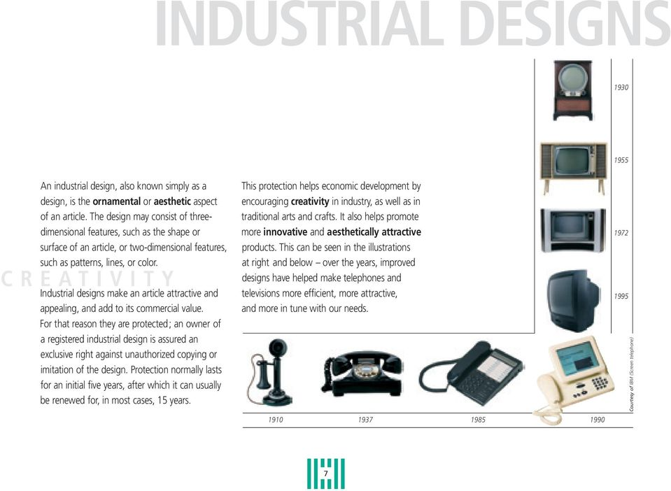 C R E A T I V I T Y Industrial designs make an article attractive and appealing, and add to its commercial value.