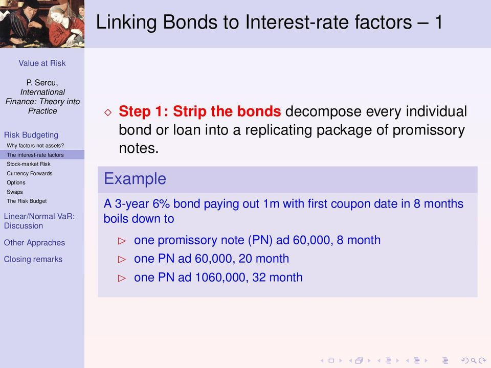bonds decompose every individual bond or loan into a replicating package of promissory notes.