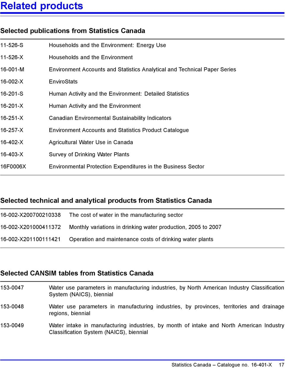 Canadian Environmental Sustainability Indicators Environment Accounts and Statistics Product Catalogue Agricultural Water Use in Canada Survey of Drinking Water Plants Environmental Protection