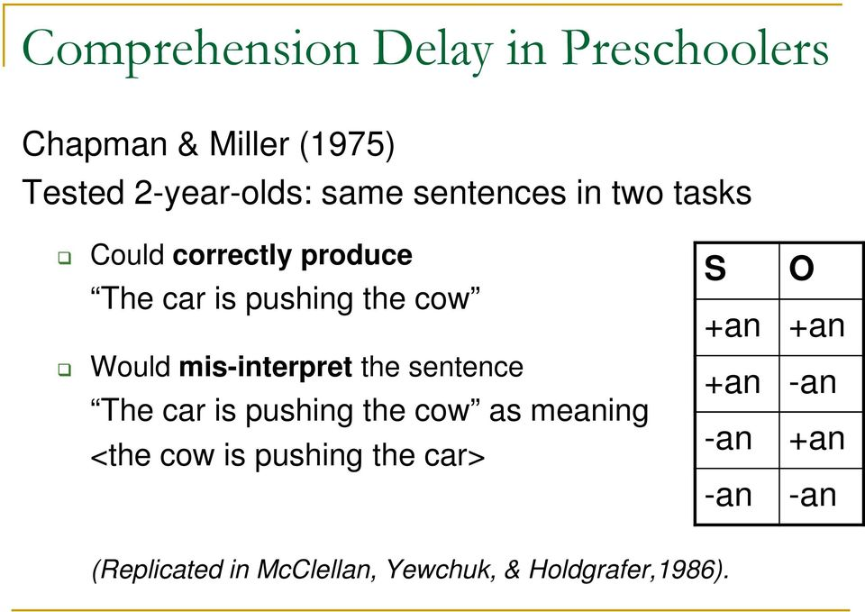 mis-interpret the sentence The car is pushing the cow as meaning <the cow is pushing