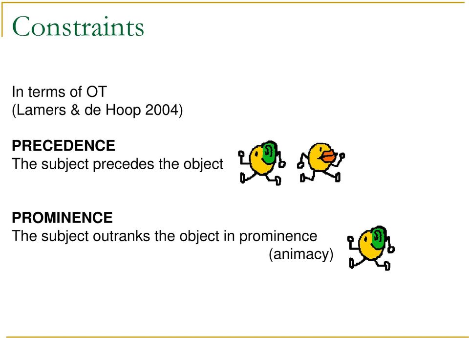 precedes the object PROMINENCE The