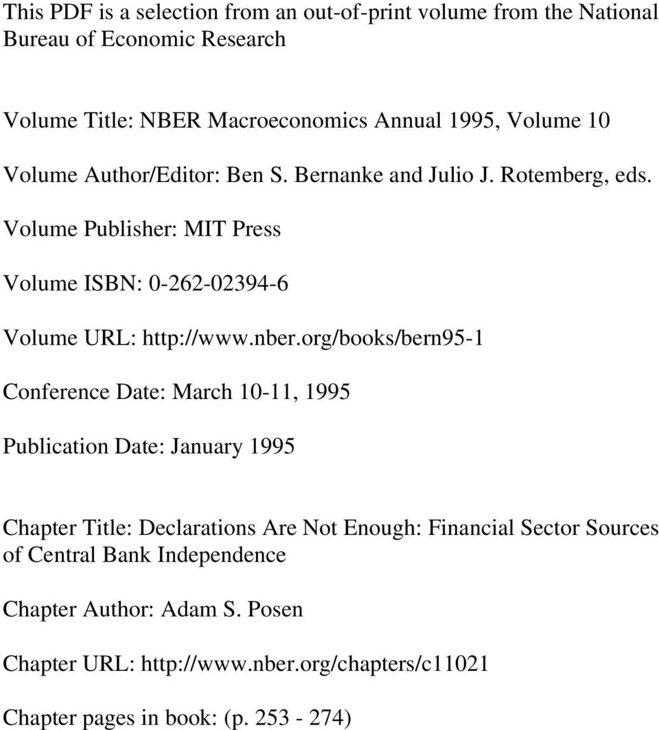 Volume Publisher: MIT Press Volume ISBN: 0-262-02394-6 Volume URL: http://www.nber.