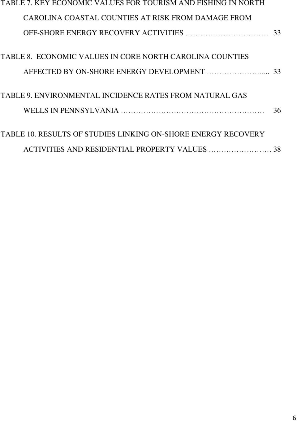 OFF-SHORE ENERGY RECOVERY ACTIVITIES 33 TABLE 8.