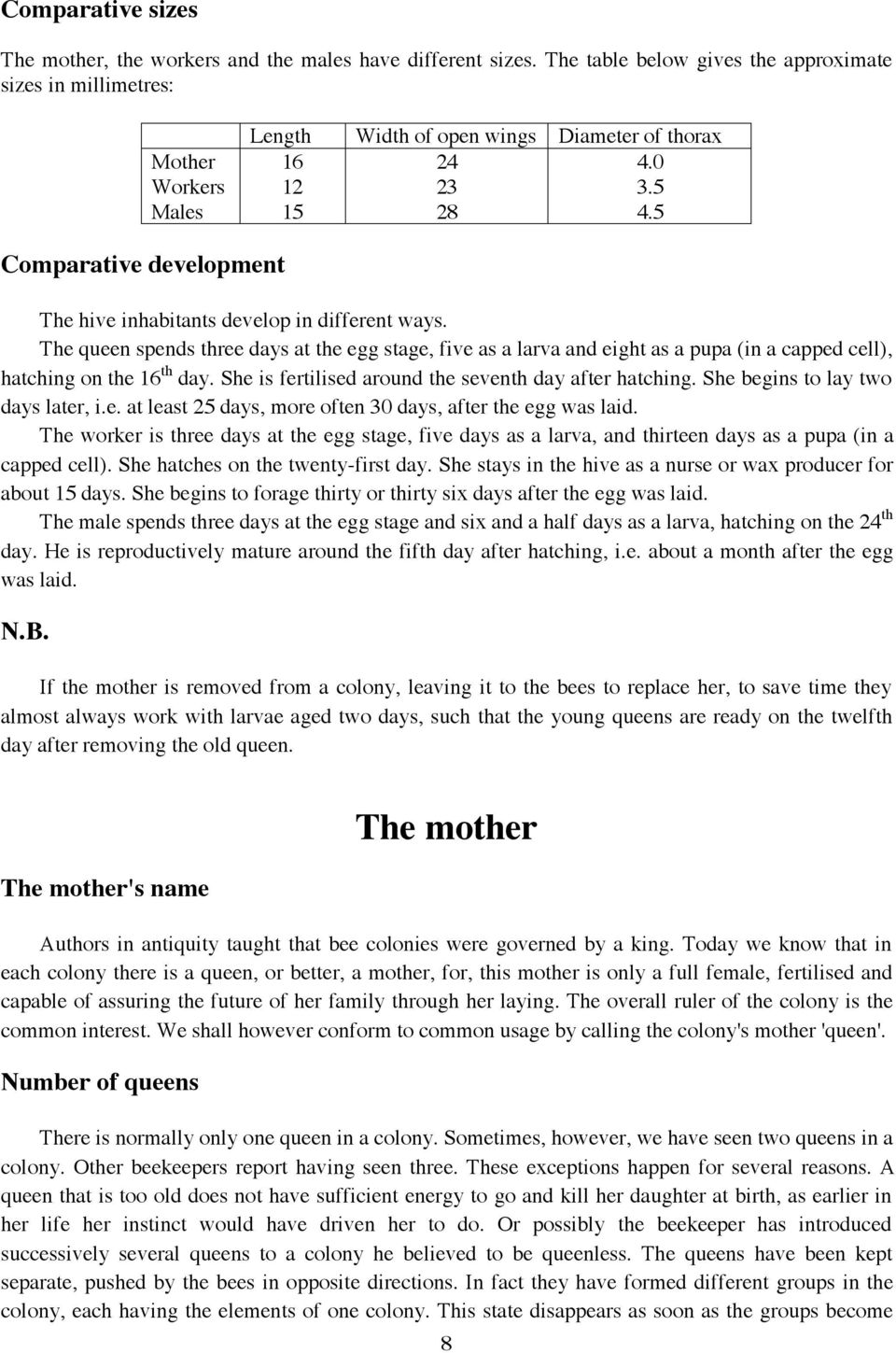 5 Comparative development The hive inhabitants develop in different ways.